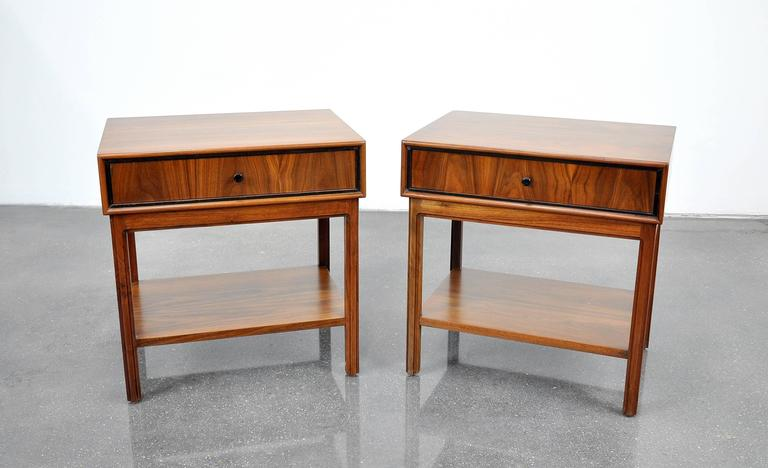 Pair of Milo Baughman for Arch Gordon Walnut Nightstands or Side Tables 3