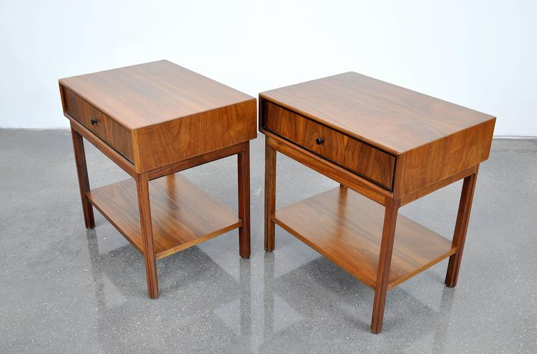 Pair of Milo Baughman for Arch Gordon Walnut Nightstands or Side Tables 4