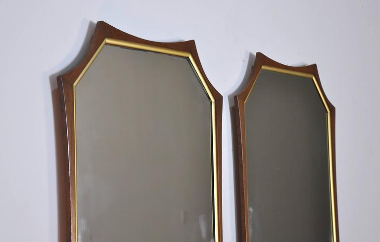 American Pair of Sculptural Mid-Century Modern Walnut and Brass Mirrors For Sale