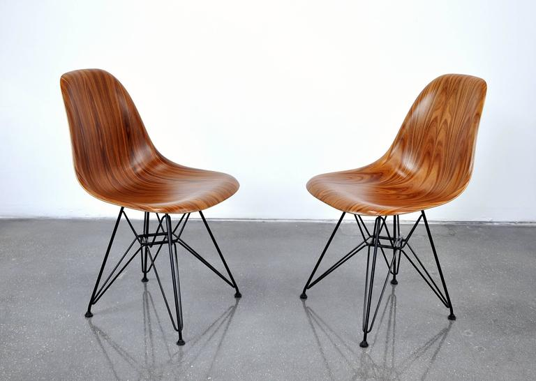 Amazing Pair Of Eames Herman Miller Palisander Eiffel Base Shell Chairs 3