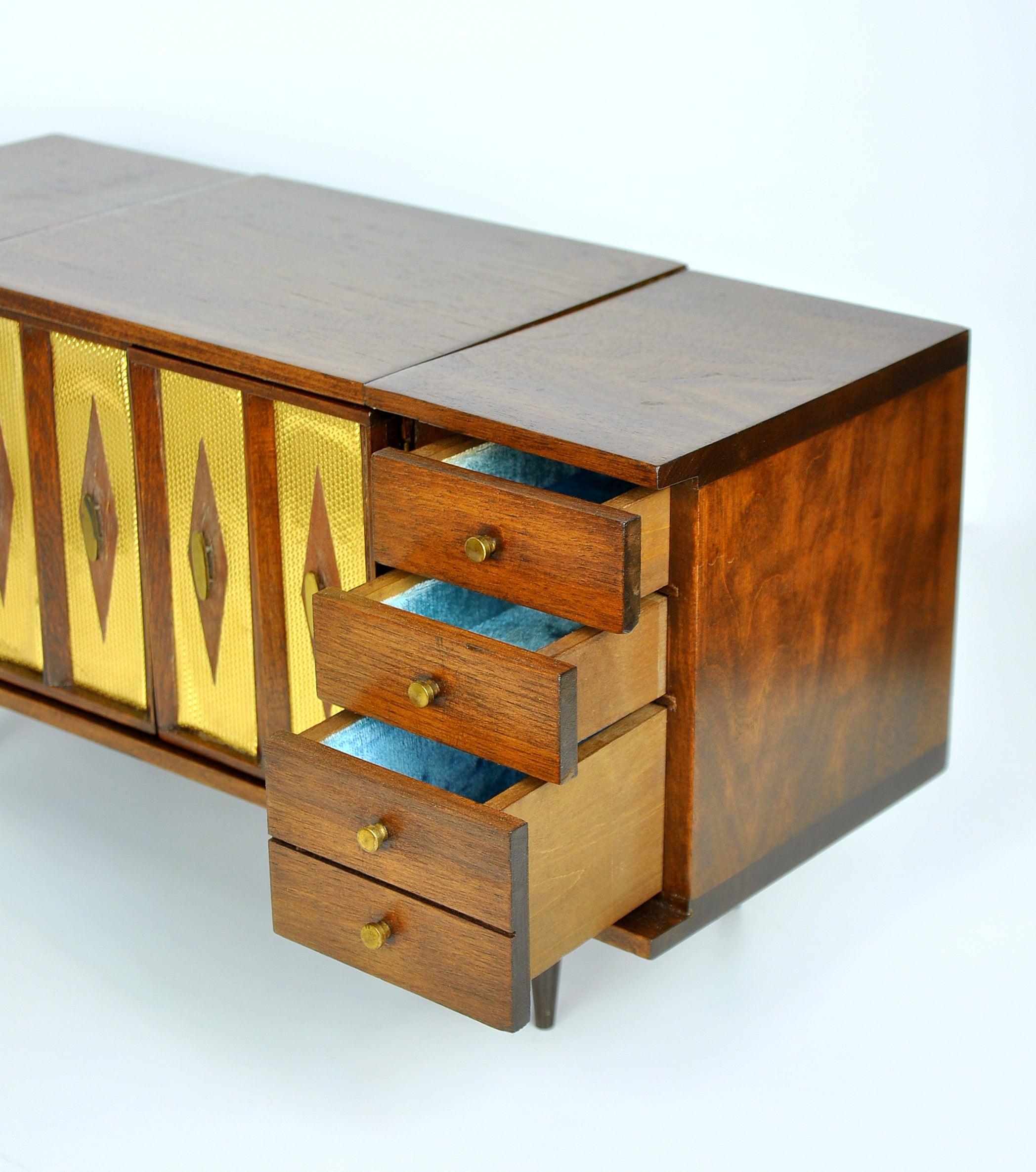 Miniature Mid Century Modern Dresser Jewelry Music Box At 1stdibs