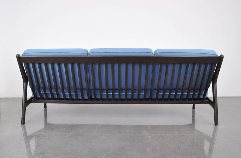 Extra Long Danish Modern Light Blue Sofa By Ib Kofod Larsen For Selig In  Good