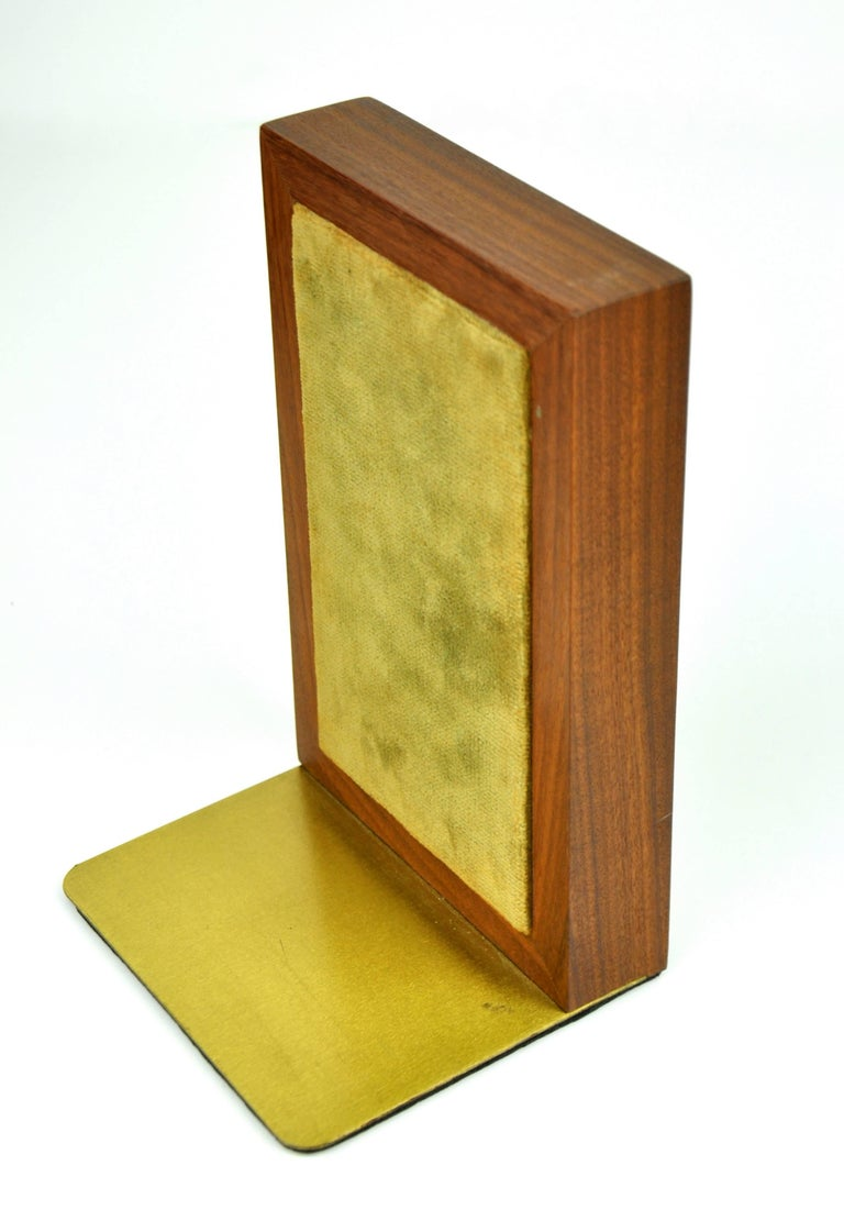 Pair of Jane & Gordon Martz for Marshall Studios Tiled Walnut and Brass Bookends In Excellent Condition For Sale In Miami, FL