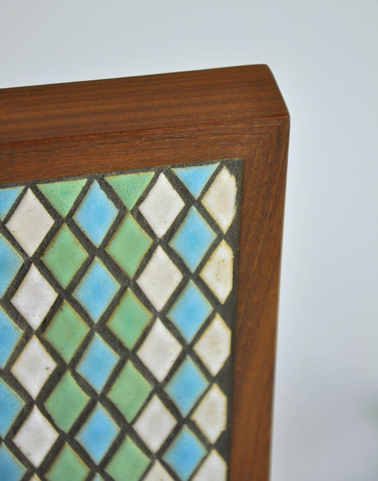 Glazed Pair of Jane & Gordon Martz for Marshall Studios Tiled Walnut and Brass Bookends For Sale