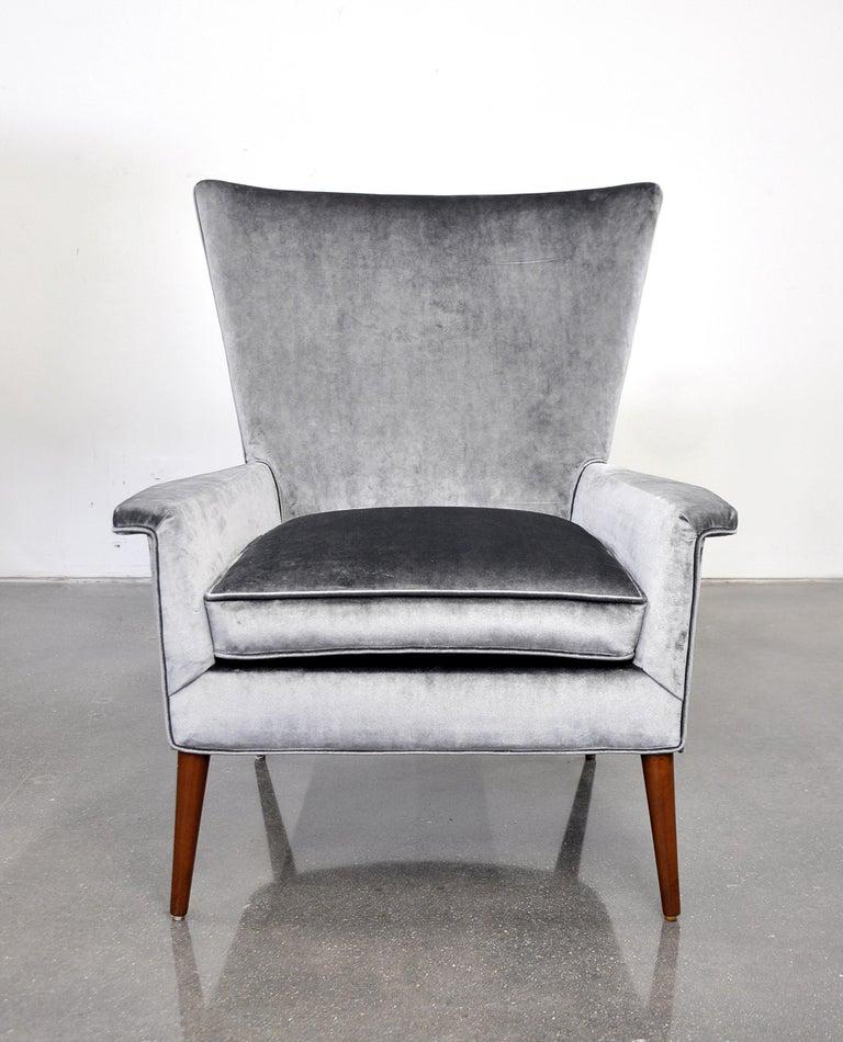 Mid Century Modern Paul Mccobb For Custom Craft Gray Velvet Wingback Lounge Chair