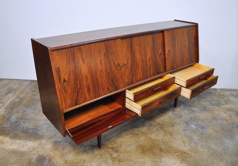 Mirror Borge Seindal Rosewood Dry Bar Sideboard, Vestergaard Mobler, Denmark, 1960s