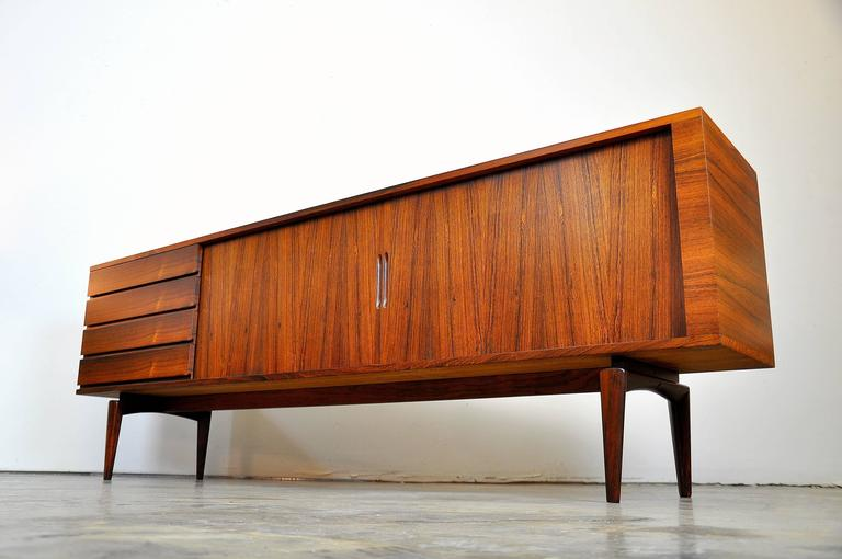 H.W. Klein for Bramin Rosewood Credenza Bar For Sale 4