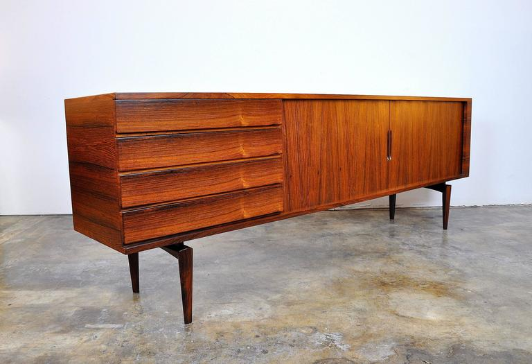 Scandinavian Modern H.W. Klein for Bramin Rosewood Credenza Bar For Sale