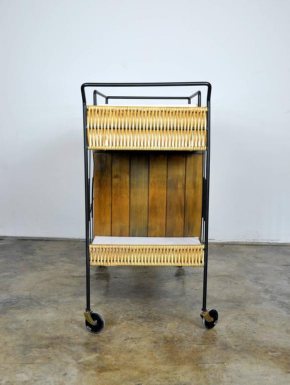 Arthur Umanoff Wrought Iron, Wood and Leather Bar Cart 3
