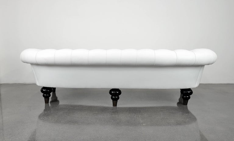 White and Black Leather Chesterfield Sofa For Sale at 1stdibs
