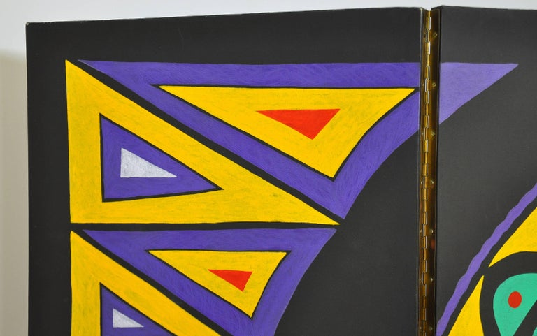 Canvas Maximalist Four-Panel Hand Painted Screen, after Jean Cocteau For Sale