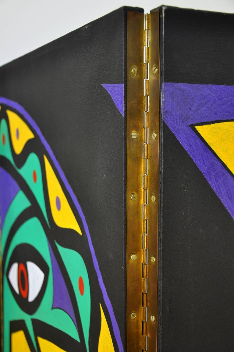 Mid-20th Century Maximalist Four-Panel Hand Painted Screen, after Jean Cocteau For Sale