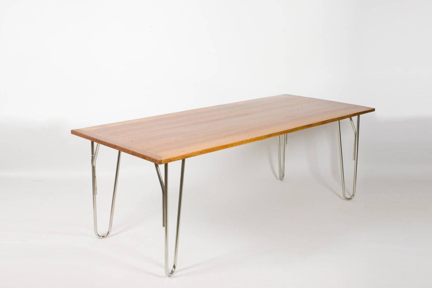 Art deco style dining room table steel tube and polished cherry for sale at 1stdibs - Steel dining room table ...