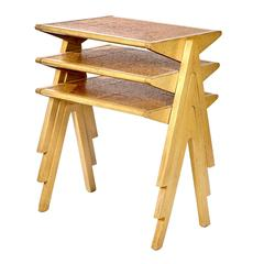 Rare Jon Jansen Cork Top Stacking Tables