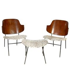 Pair of Rare Ib Kofod-Larsen Extended Leg Shell Chairs and Ottoman