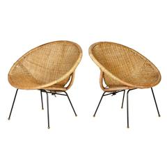 Pair of Rattan and Iron Base Scoop Chairs