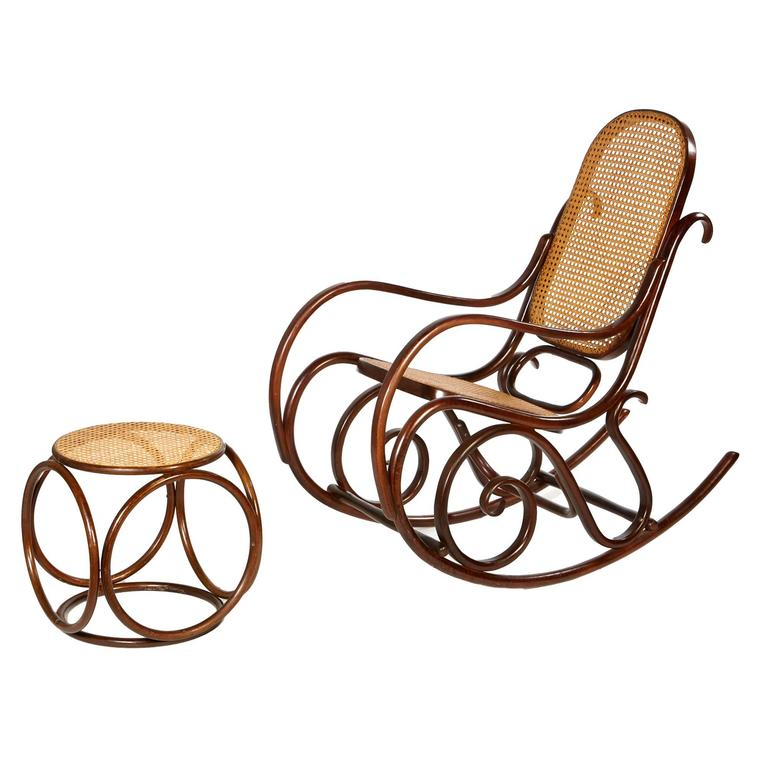 mid 20th century thonet style rocking chair and ottoman at 1stdibs. Black Bedroom Furniture Sets. Home Design Ideas