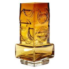 Pentti Sarpanevo Oy Kumela Finland Amber Glass Vase