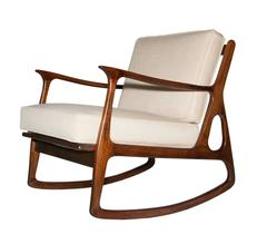 Italian Walnut Wood Rocking Chair, 1960s