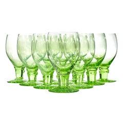 Light Green Glass Wine Goblets, 1950s