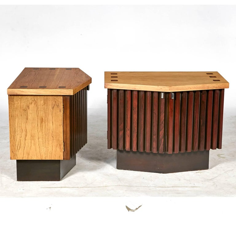 20th Century Mid-Century Modern Walnut and Rosewood Nightstands by Lane Furniture Co, 1960s