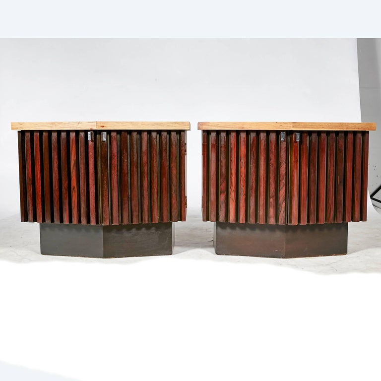 American Mid-Century Modern Walnut and Rosewood Nightstands by Lane Furniture Co, 1960s