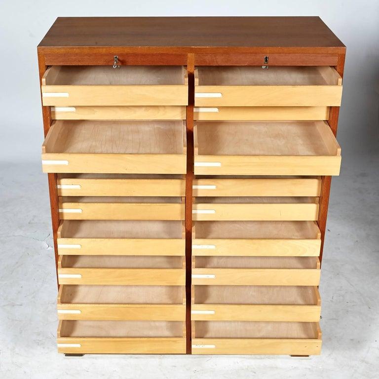 Danish Teak Tambour Flat Filing Cabinet By Frej Odense