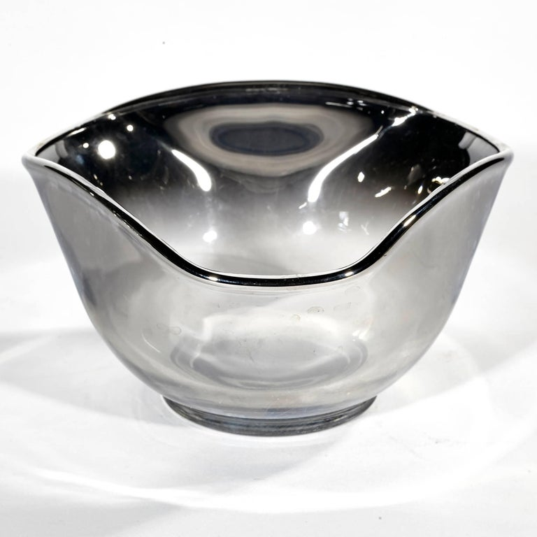 Glass Mid-20th Century Modern Silver Fade Serving Bowl Set, Ten Pieces For Sale
