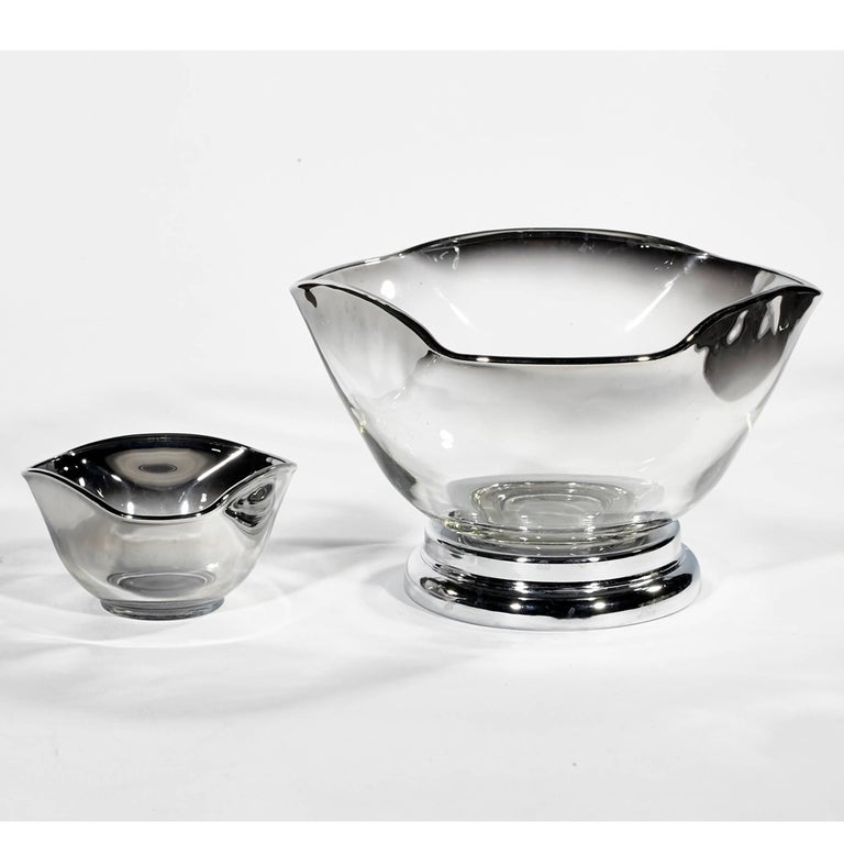 Mid-Century Modern Mid-20th Century Modern Silver Fade Serving Bowl Set, Ten Pieces For Sale