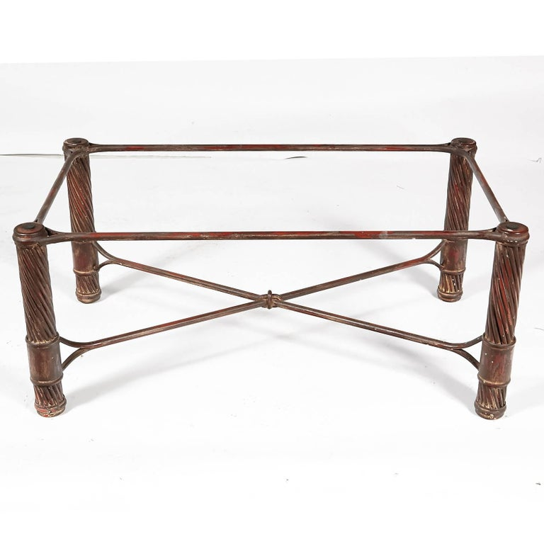 Mid-Century Modern Handmade Iron and Glass Top Coffee Table For Sale
