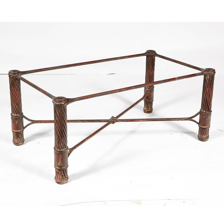 Metal Handmade Iron and Glass Top Coffee Table For Sale