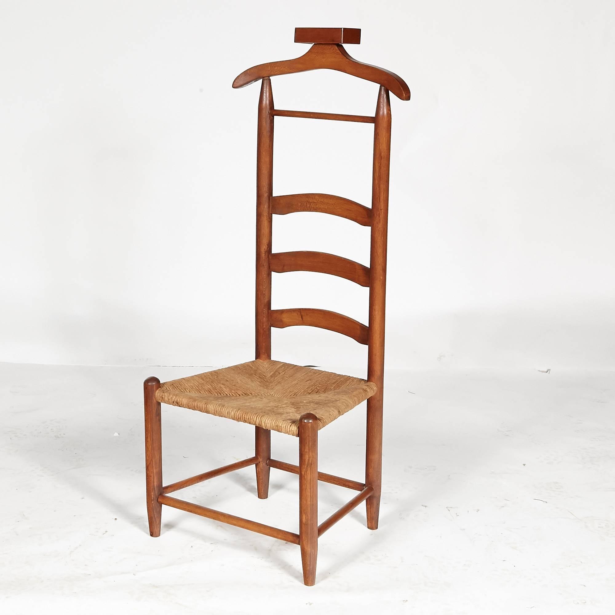 Rustic Menu0027s Rush Seat Bedroom Valet For Sale