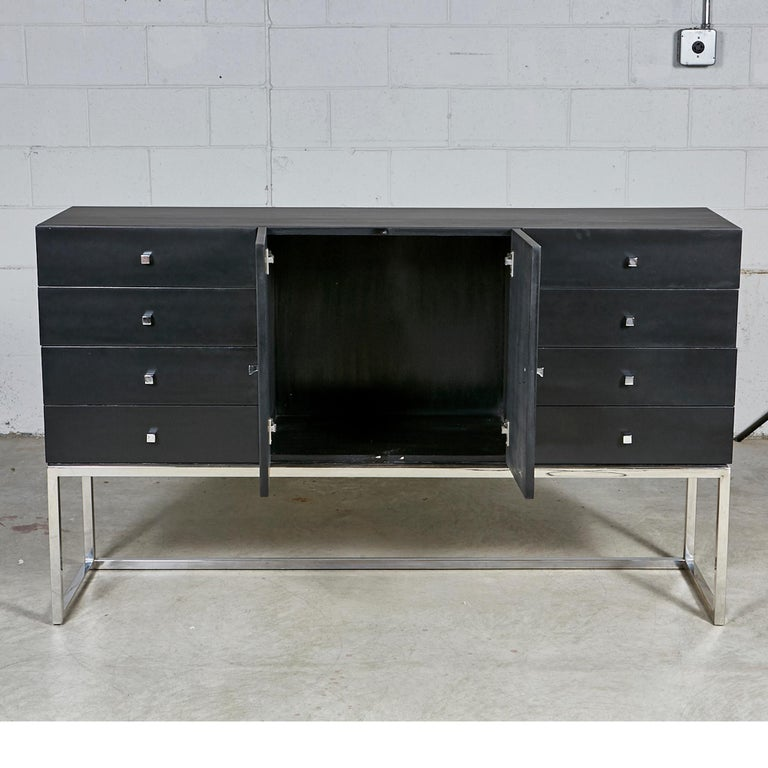 Mid-Century Modern Black Painted and Chrome Credenza For Sale