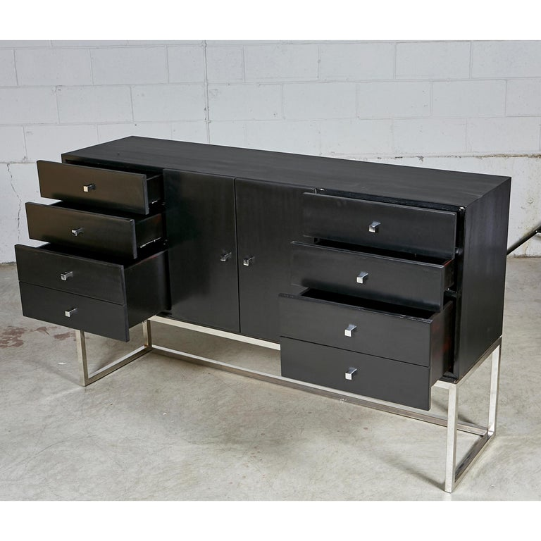 American Black Painted and Chrome Credenza For Sale