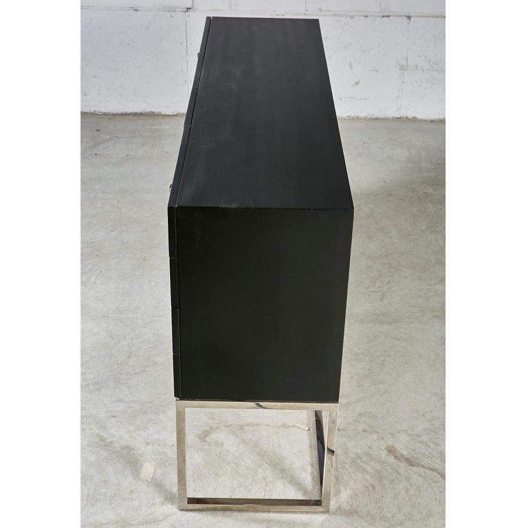 Black Painted and Chrome Credenza For Sale 2