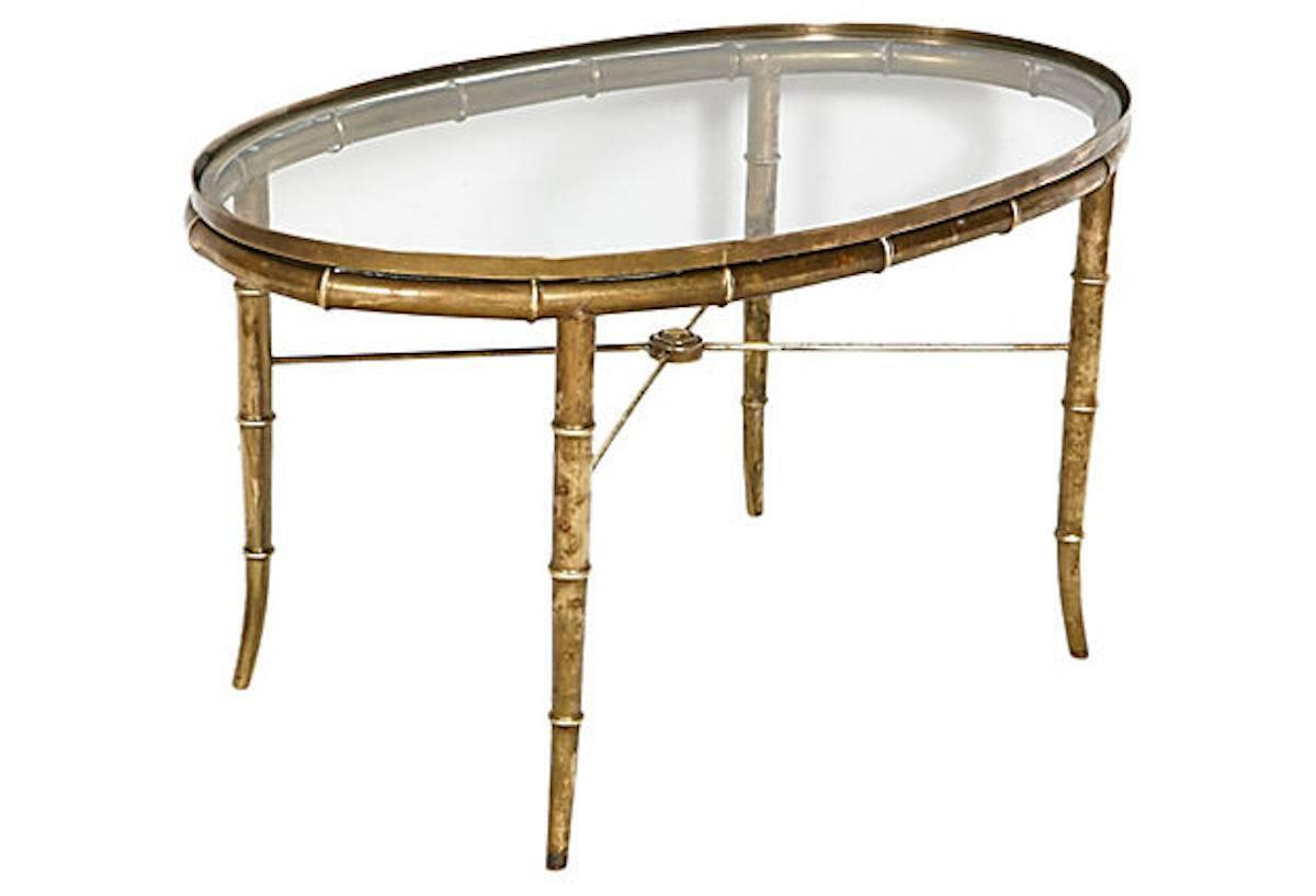 Faux Bamboo Oval Brass Coffee Table By Mastercraft At 1stdibs