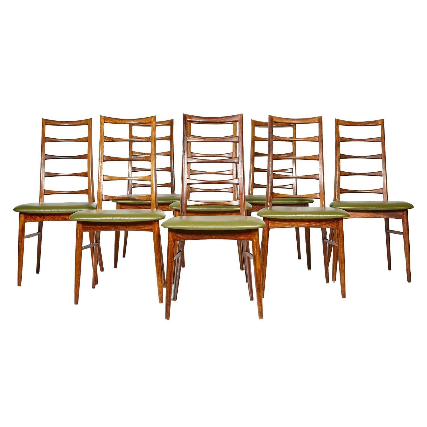 rosewood ladder back dining chairs by niels koefoeds set of eight at