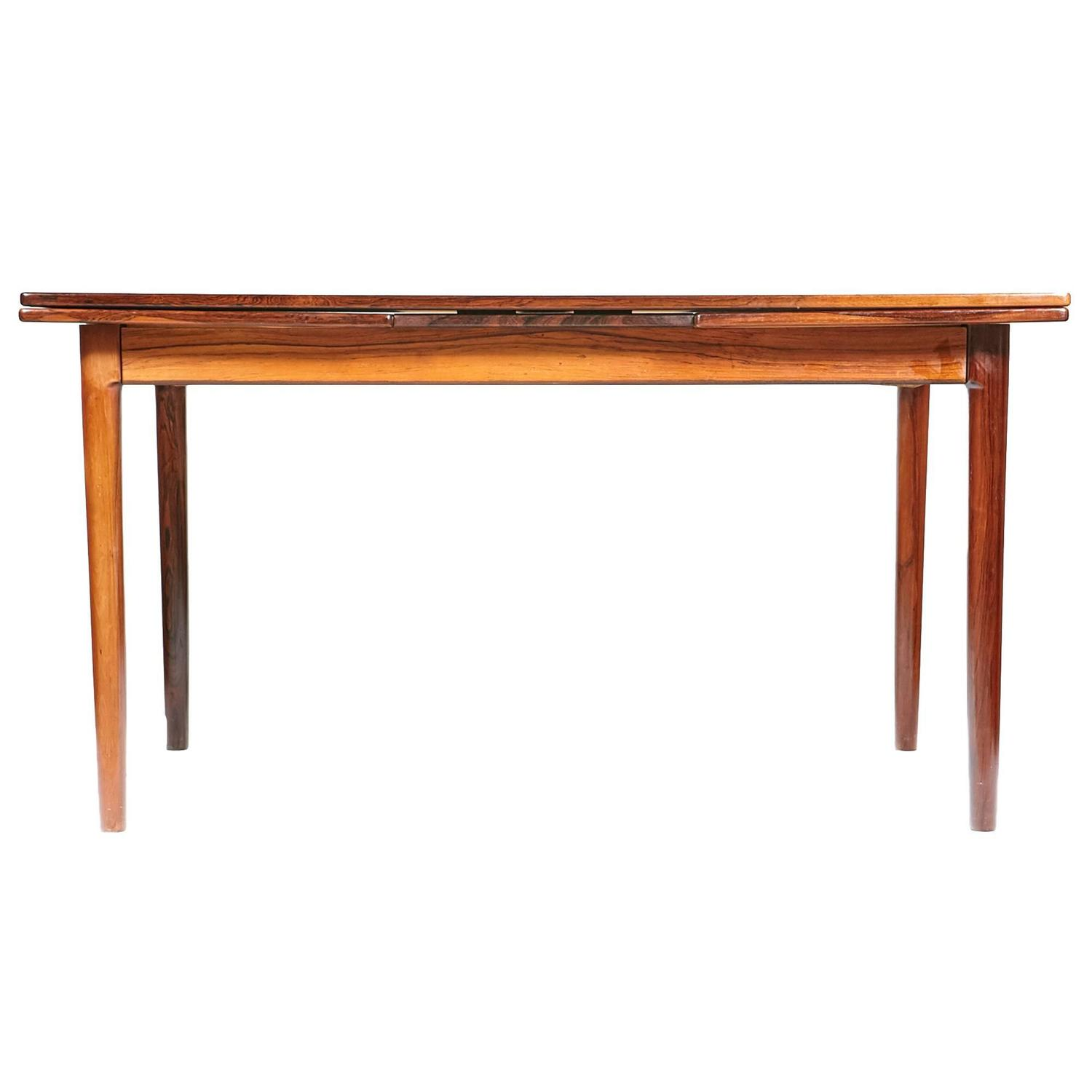1960s bernhard pedersen and sons rosewood expandable dining table at 1stdibs - Dining room tables with extensions in design ...