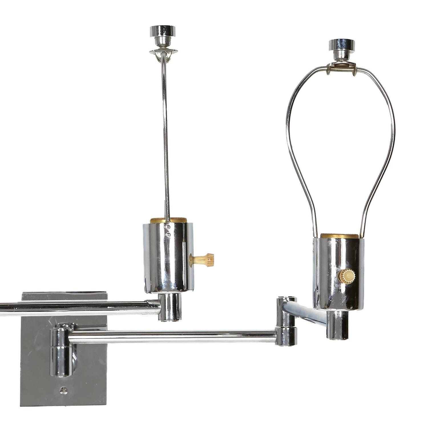 Wall Mounted Lamps With Swing Arms : Pair of Georg W. Hansen Chrome Swing Arm Wall Mounted Lamps For Sale at 1stdibs