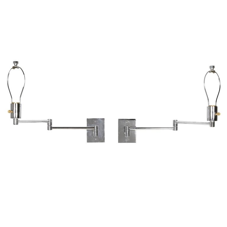 pair of georg w hansen chrome swing arm wall mounted. Black Bedroom Furniture Sets. Home Design Ideas
