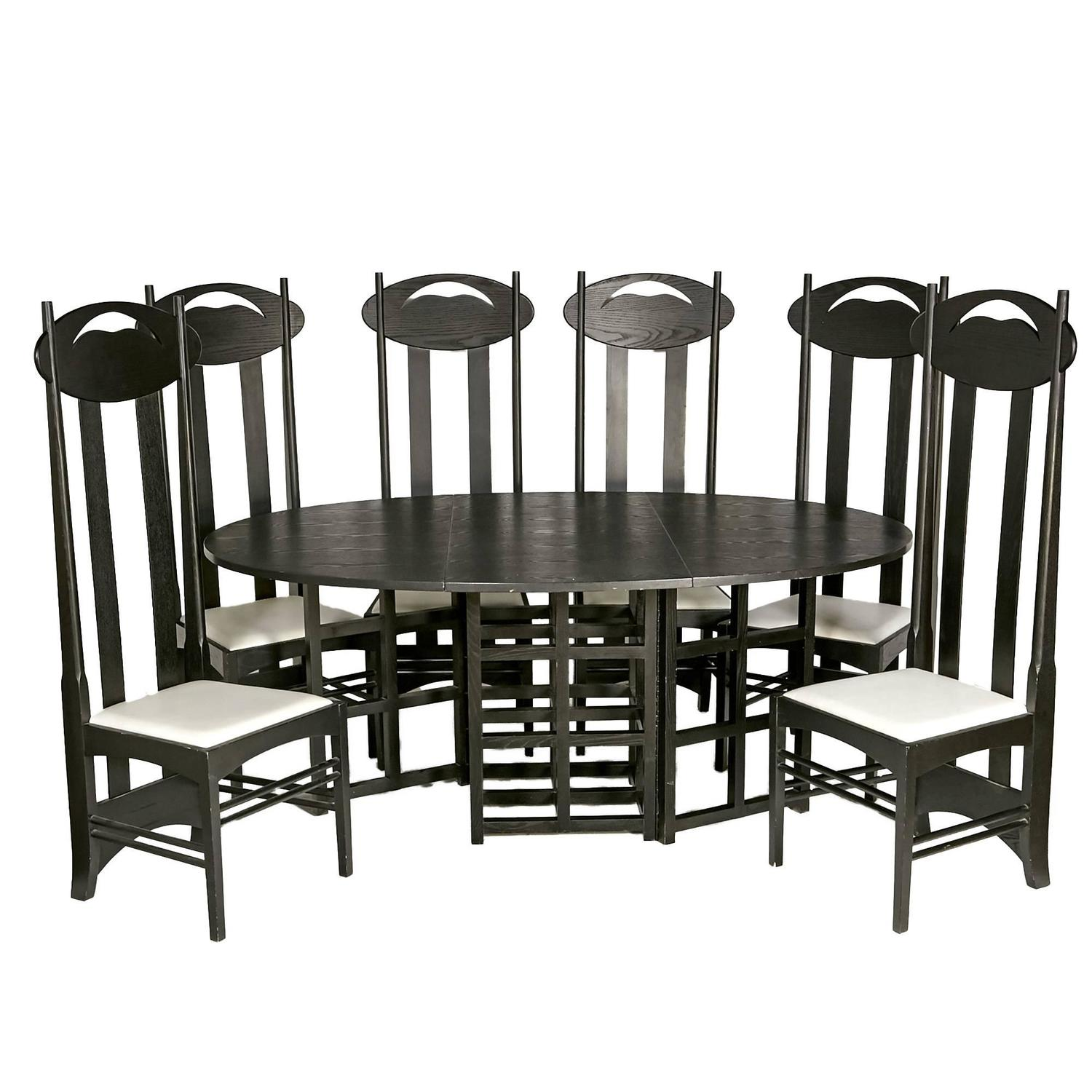 charles rennie mackintosh argyle ebonized dining room set at 1stdibs. Black Bedroom Furniture Sets. Home Design Ideas