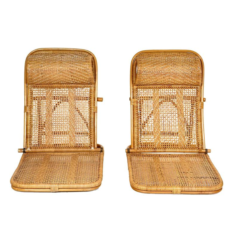 Captivating Mid 20th Century Pair Of Rattan And Wicker Folding Beach Chairs With  Built In