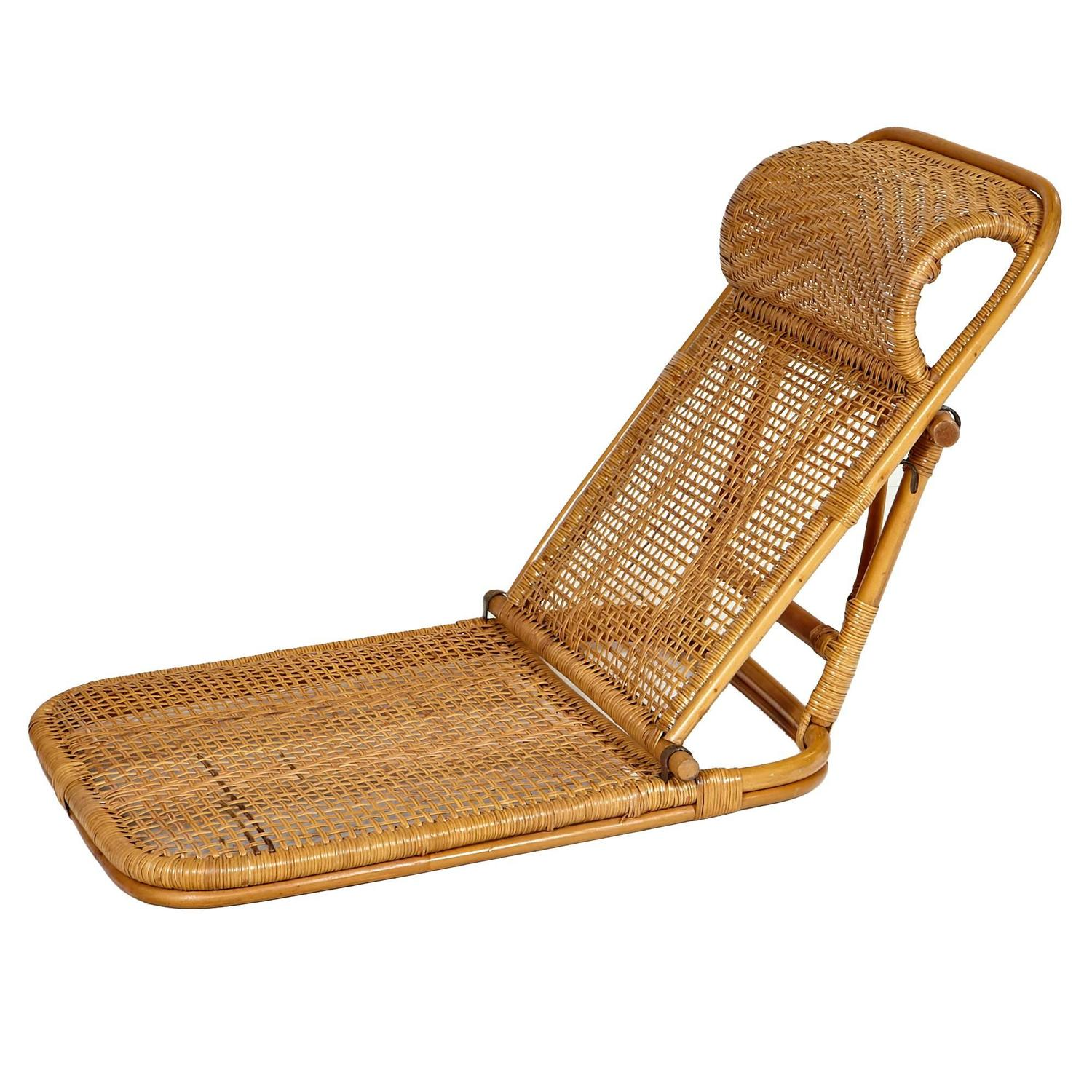 Rattan and Wicker Folding Beach Chairs Pair at 1stdibs