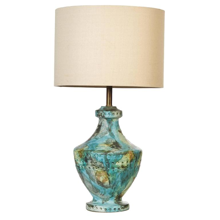 Bitossi Style Volcanic Glaze Table Lamp, 1960s