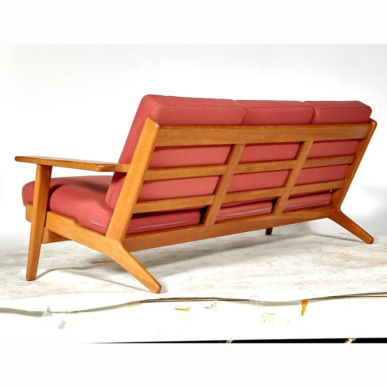 Danish Hans J. Wegner Three-Seat Sofa in Oak for Getama GETAMA, GE-290 For Sale