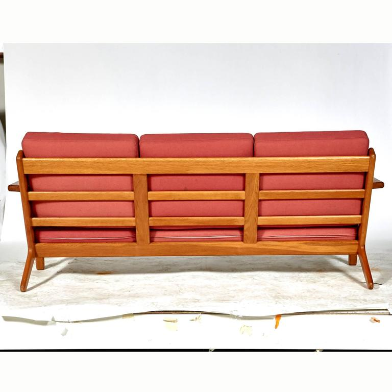 Fabric Hans J. Wegner Three-Seat Sofa in Oak for Getama GETAMA, GE-290 For Sale