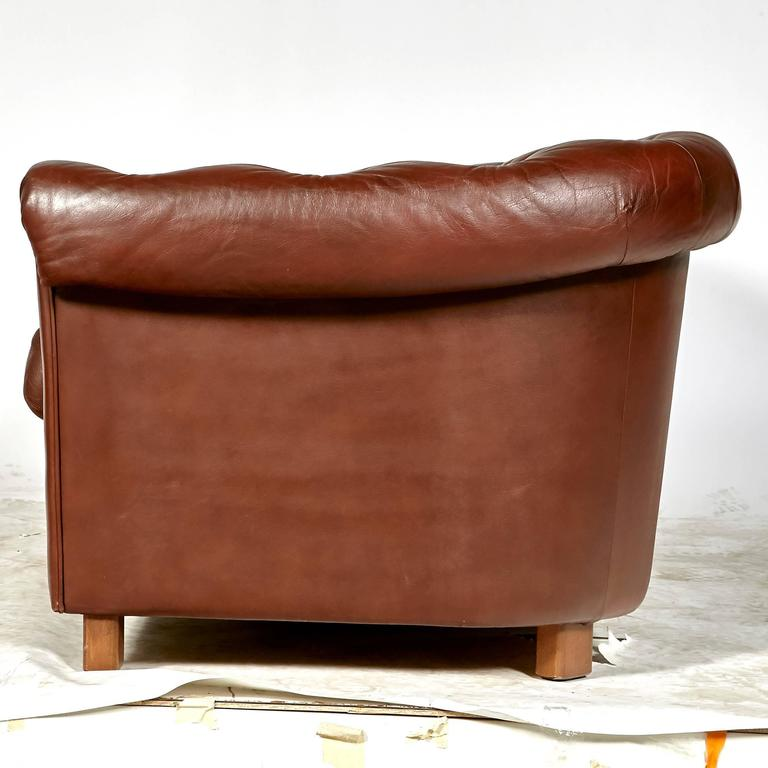 Brown Leather Chesterfield Sofa For Sale 1