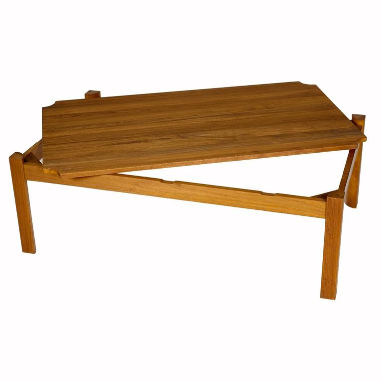 Danish Solid Teak Reversible Top Coffee Table, 1960s For ...