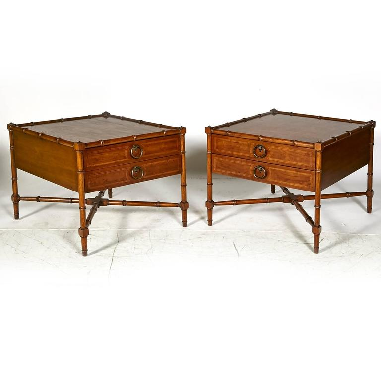 Drexel Heritage Grand Tour Faux Bamboo Side Tables Pair