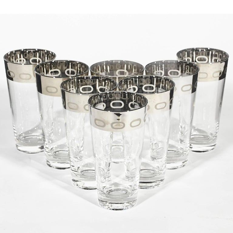 Mid-Century Modern 1960s Silver-Rim Tall Glass Tumblers, Set of Eight For Sale